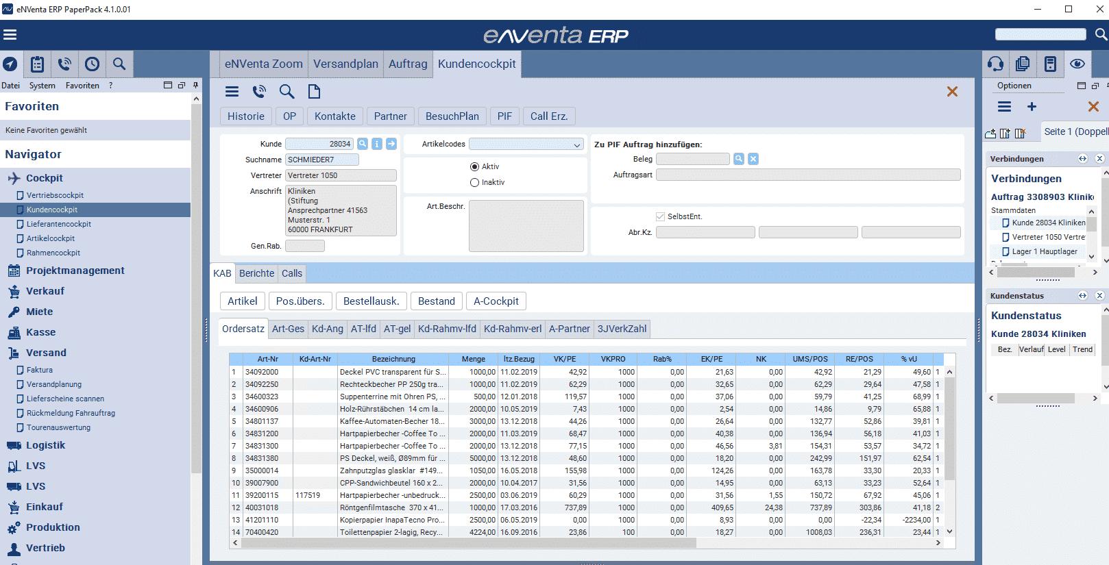 eNVenta ERP - Paperpack Kundencockpit