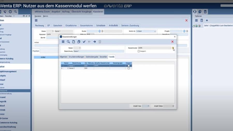 eNVenta ERP - Nutzer aus dem Kassenmodul werfen
