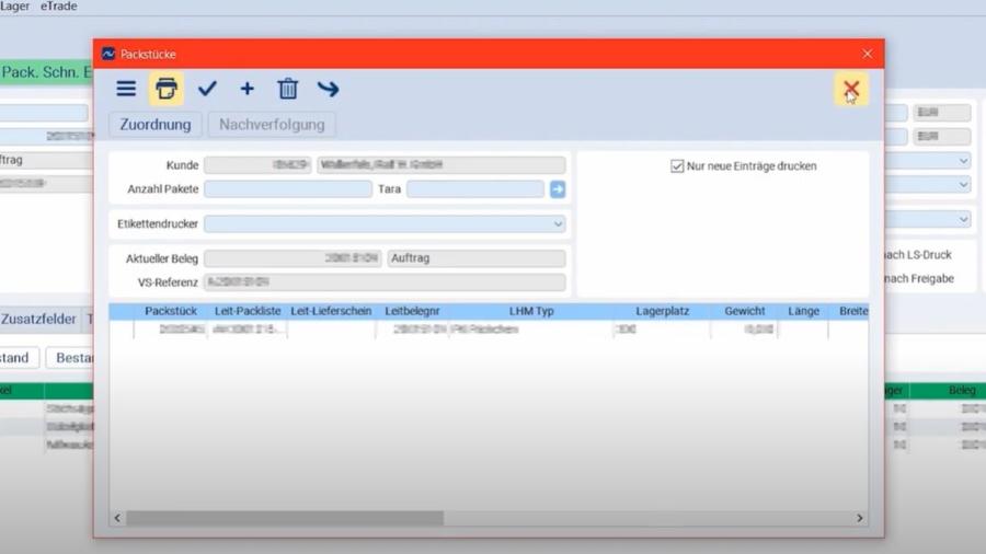 eNVenta ERP - Packstück kommissionieren für Abholauftrag