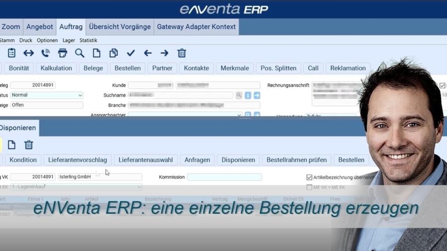 auftragsbezogene Bestellung erzeugen - eNVenta ERP