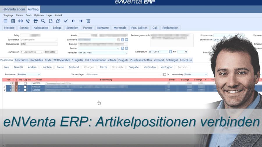 Artikelpositionen verbinden - eNVenta ERP